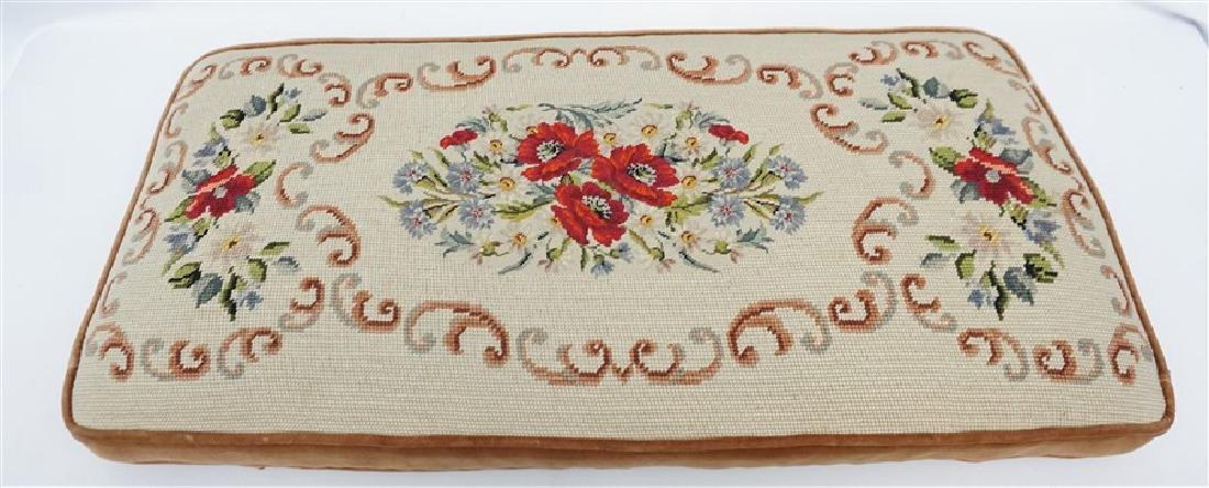PETIT POINT TAPESTRY TOP BENCH CUSHION