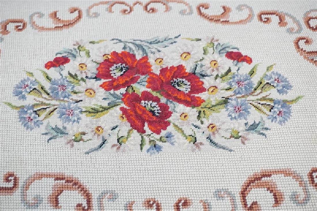 PETIT POINT TAPESTRY TOP BENCH CUSHION - 2