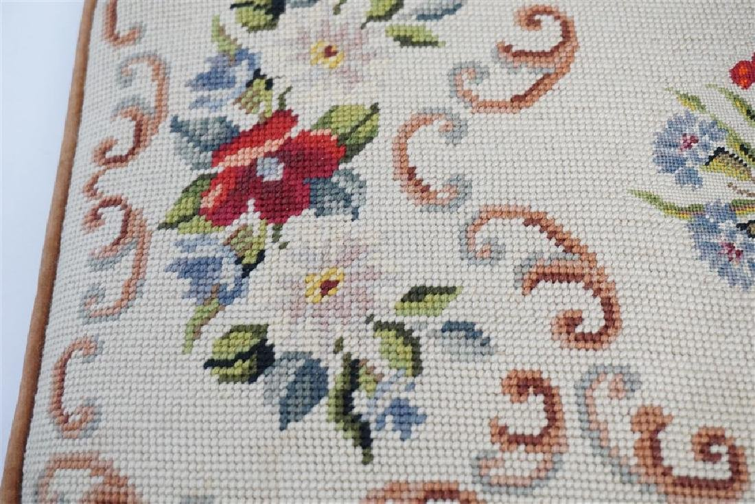 PETIT POINT TAPESTRY TOP BENCH CUSHION - 3