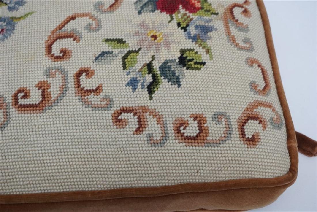 PETIT POINT TAPESTRY TOP BENCH CUSHION - 4