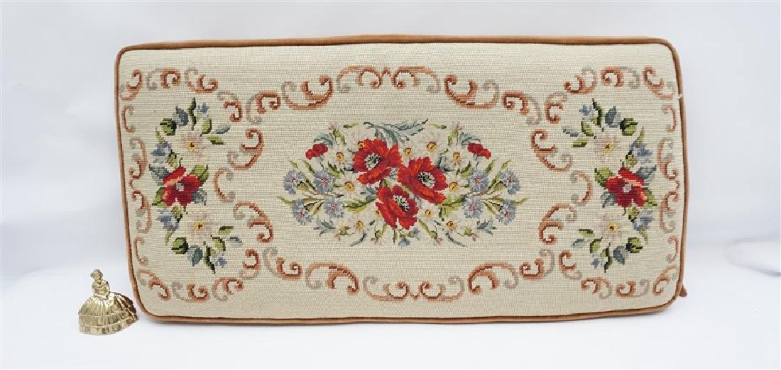 PETIT POINT TAPESTRY TOP BENCH CUSHION - 6