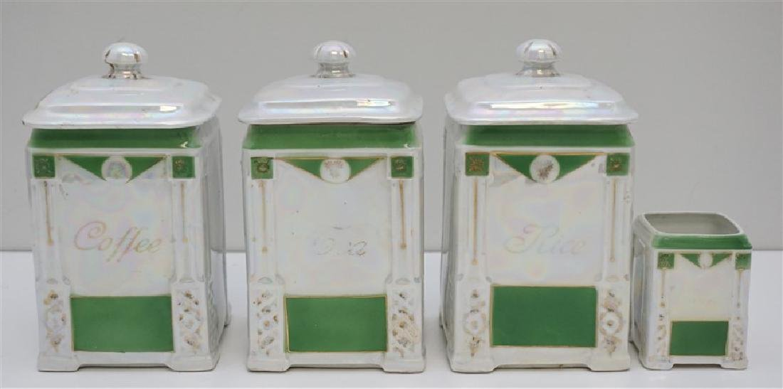 4 PC CZECH LUSTREWARE CANISTERS