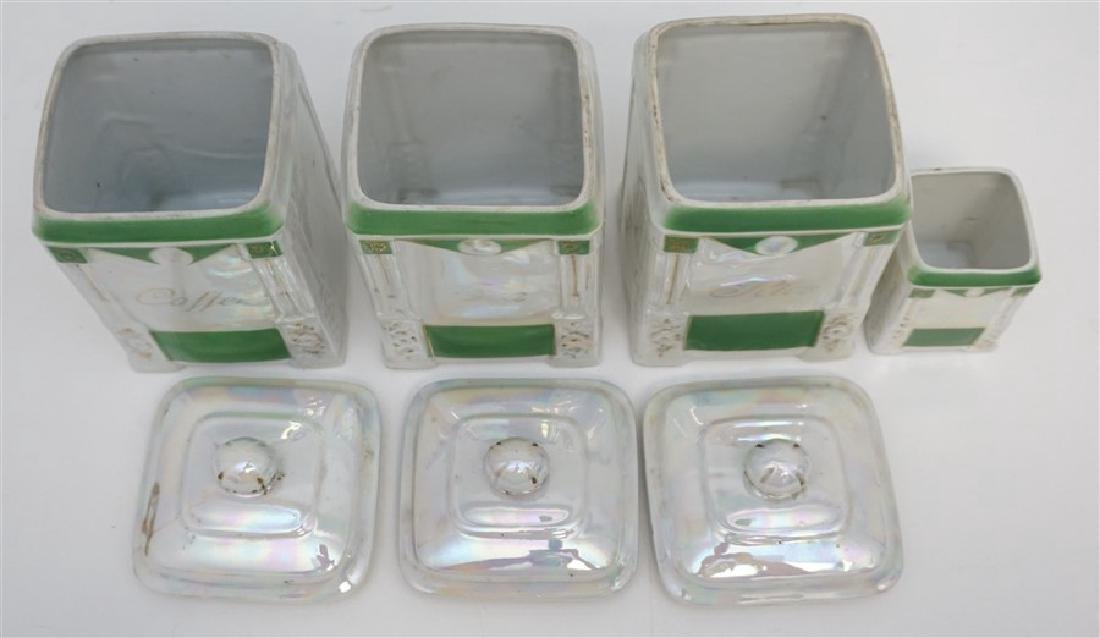 4 PC CZECH LUSTREWARE CANISTERS - 4