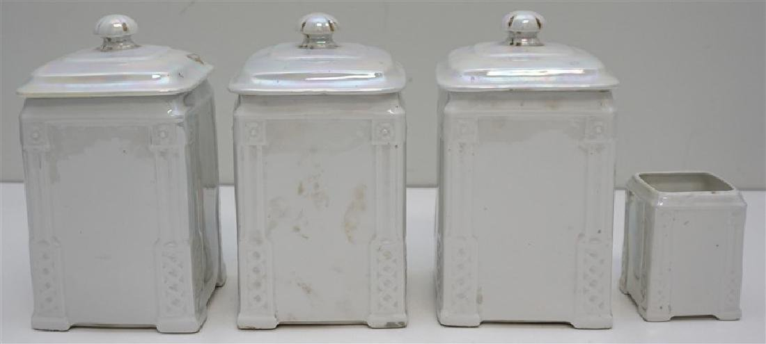 4 PC CZECH LUSTREWARE CANISTERS - 7