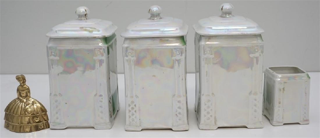4 PC CZECH LUSTREWARE CANISTERS - 8