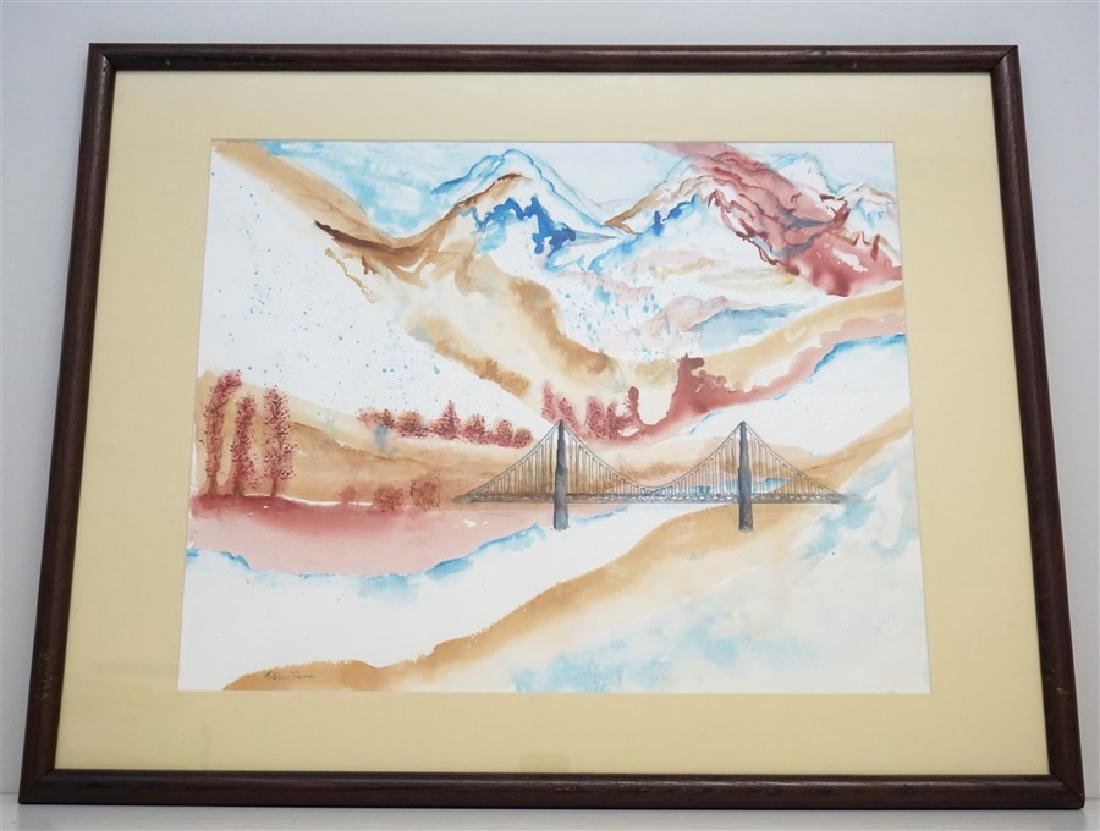 ABSTRACT WATERCOLOR BRIDGE - KATHLEEN FLENNER