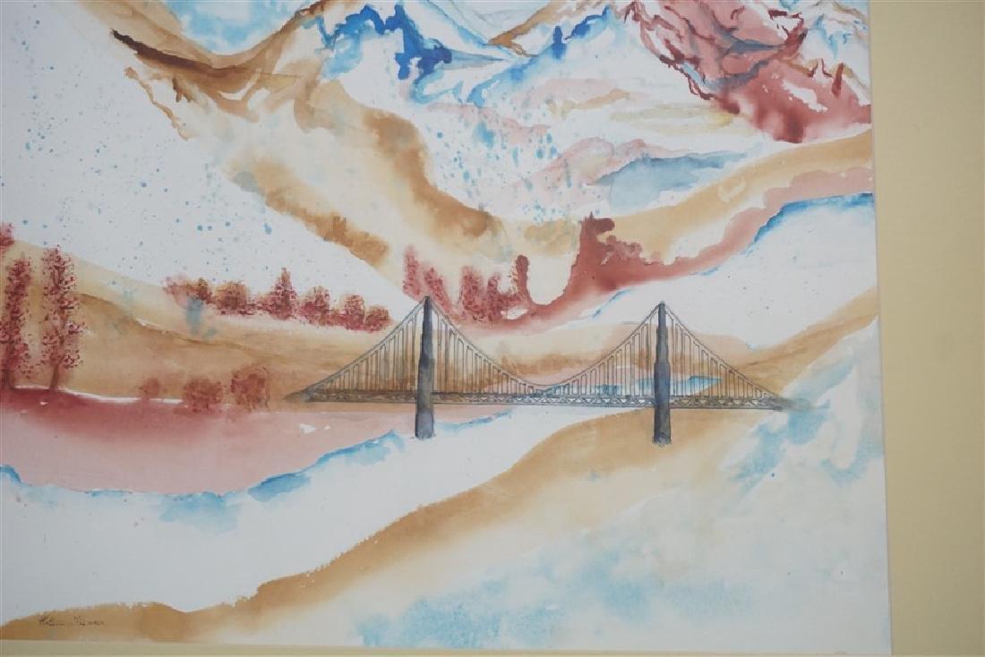 ABSTRACT WATERCOLOR BRIDGE - KATHLEEN FLENNER - 3