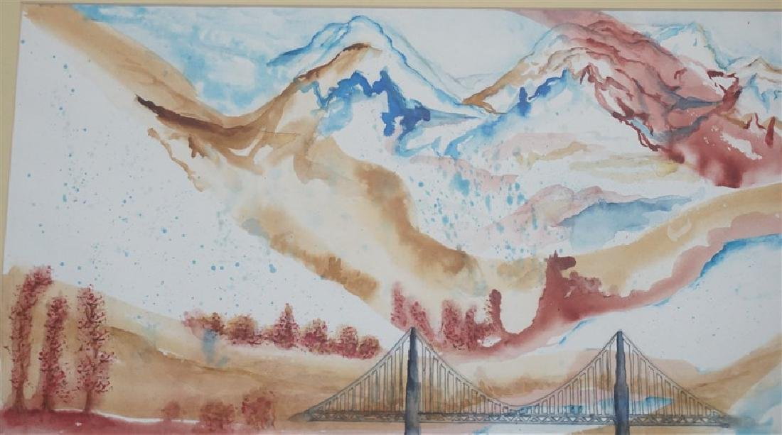 ABSTRACT WATERCOLOR BRIDGE - KATHLEEN FLENNER - 4