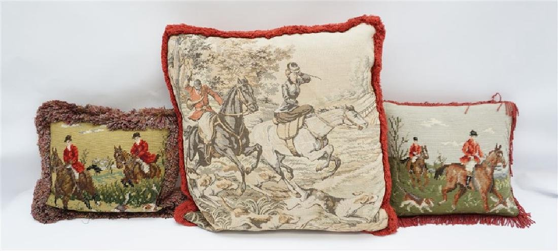 3 NEEDLEPOINT & TAPESTRY EQUESTRIAN PILLOWS