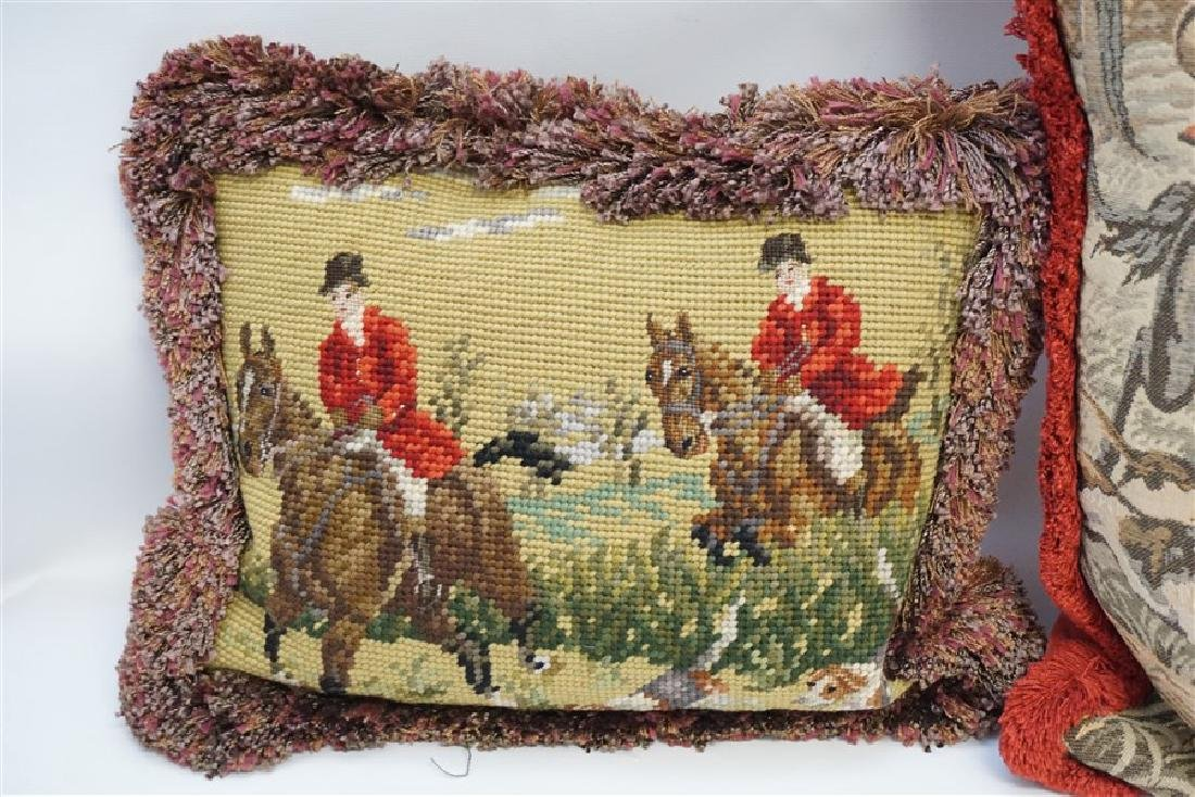 3 NEEDLEPOINT & TAPESTRY EQUESTRIAN PILLOWS - 2