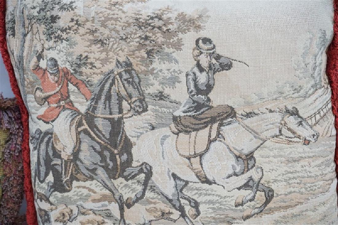 3 NEEDLEPOINT & TAPESTRY EQUESTRIAN PILLOWS - 3