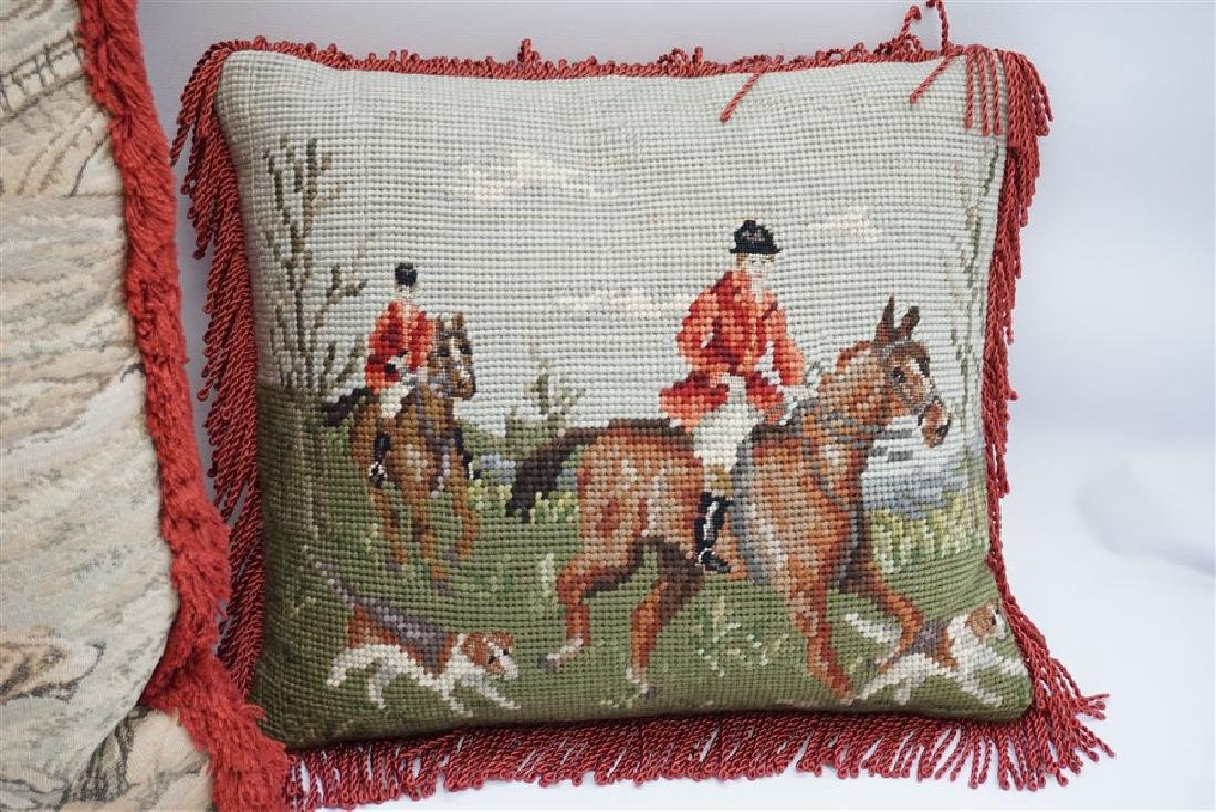 3 NEEDLEPOINT & TAPESTRY EQUESTRIAN PILLOWS - 5