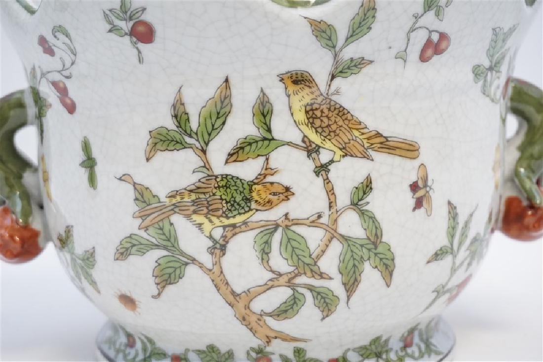 PORCELAIN CRAQUELURE BIRDS CACHEPOT - 2