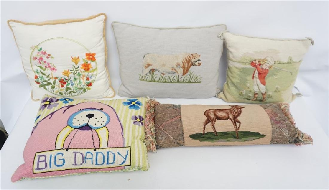 5 NEEDLEPOINT & EMBROIDERED PILLOWS