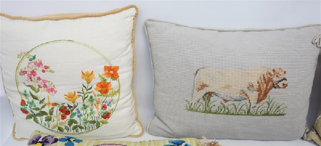 5 NEEDLEPOINT & EMBROIDERED PILLOWS - 2