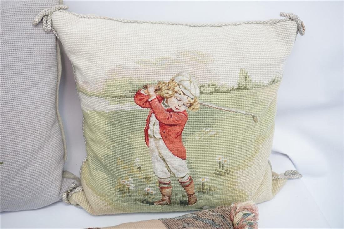 5 NEEDLEPOINT & EMBROIDERED PILLOWS - 3