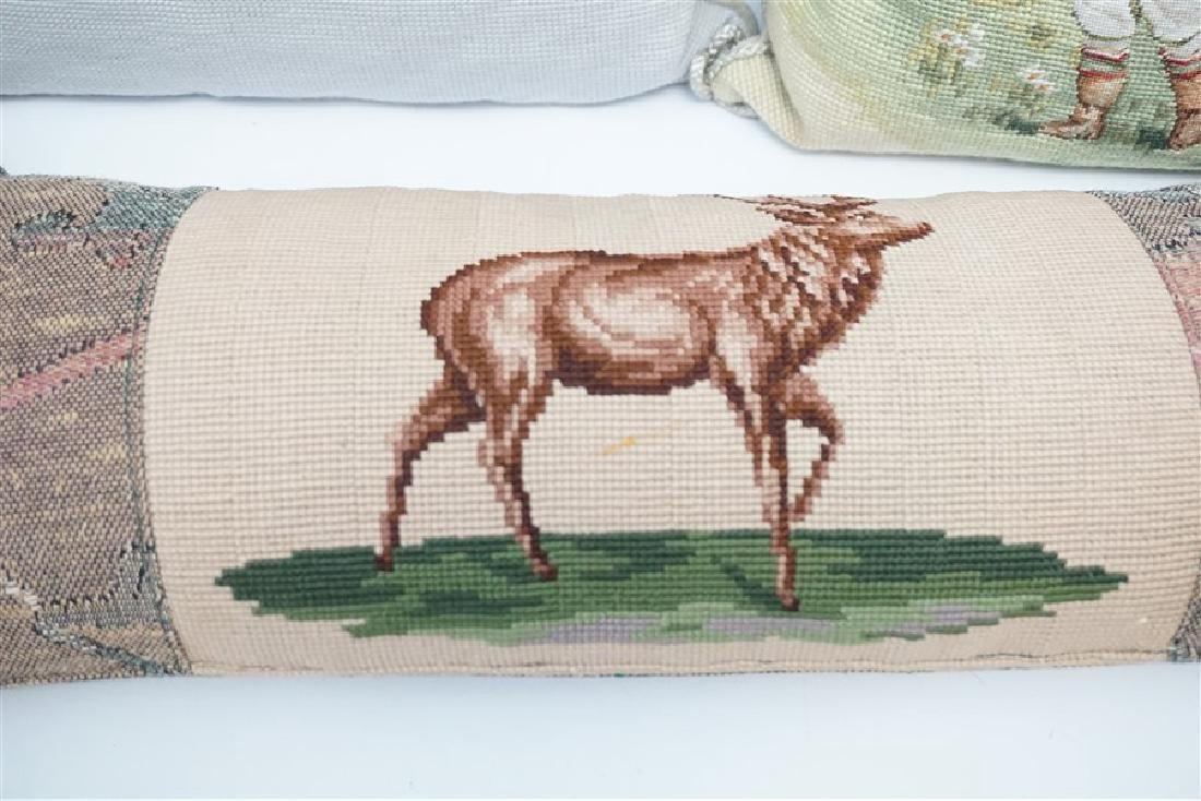 5 NEEDLEPOINT & EMBROIDERED PILLOWS - 4