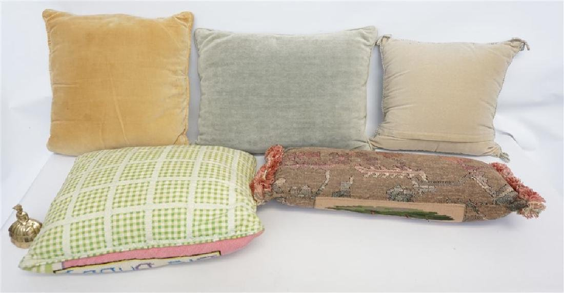 5 NEEDLEPOINT & EMBROIDERED PILLOWS - 6