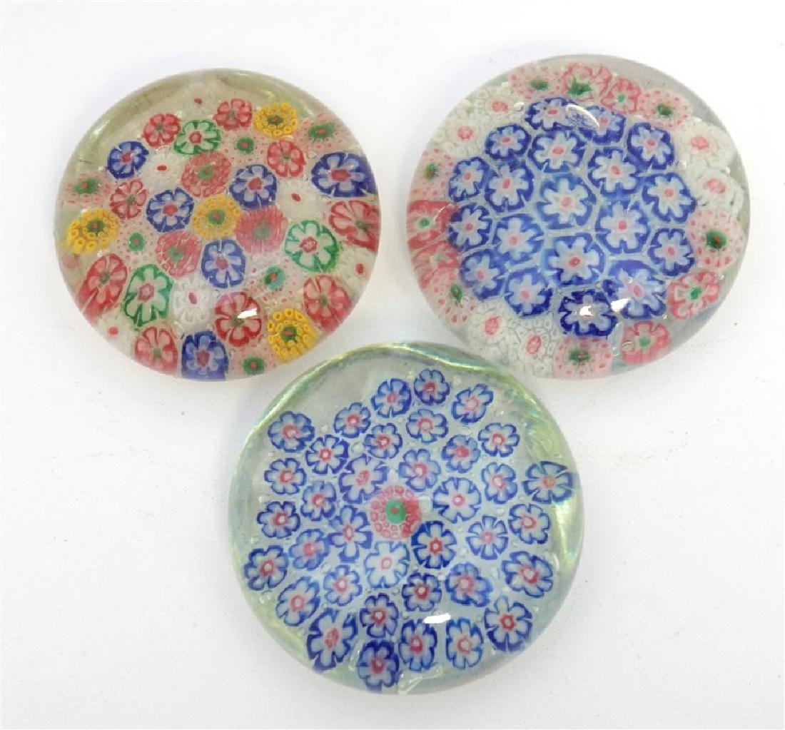 3 MILLEFIORI GLASS PAPERWEIGHTS