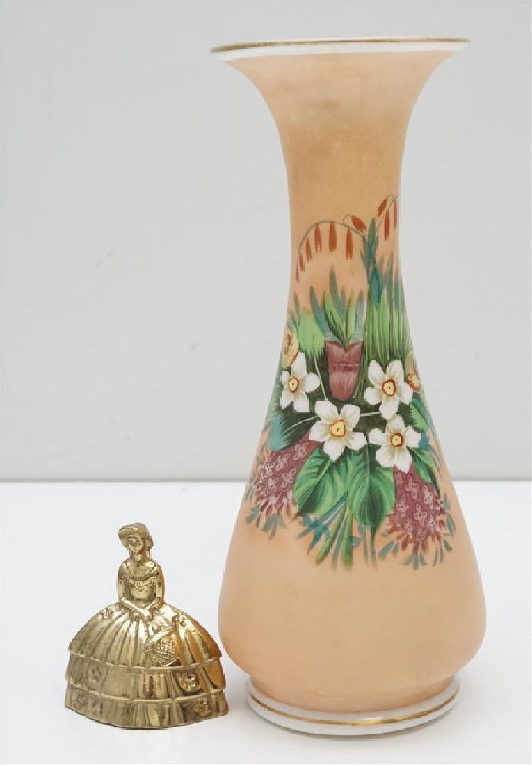 HAND PAINTED PEACH BRISTOL GLASS VASE - 8