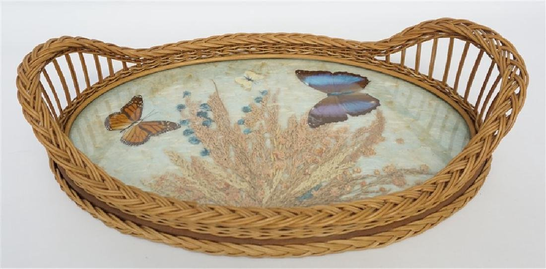 LARGE VINTAGE WICKER BUTTERFLY TRAY