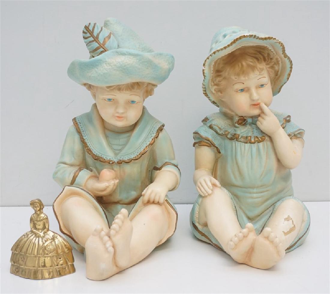 PAIR VINTAGE LARGE CERAMIC PIANO BABIES - 6