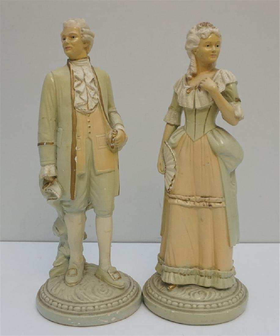 2 VINTAGE MID CENTURY CHALKWARE COLONIAL COUPLE