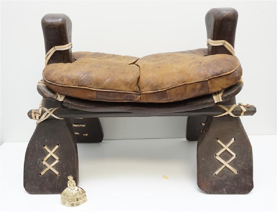 EGYPTIAN CARVED WOOD CAMEL SADDLE / STOOL - 9