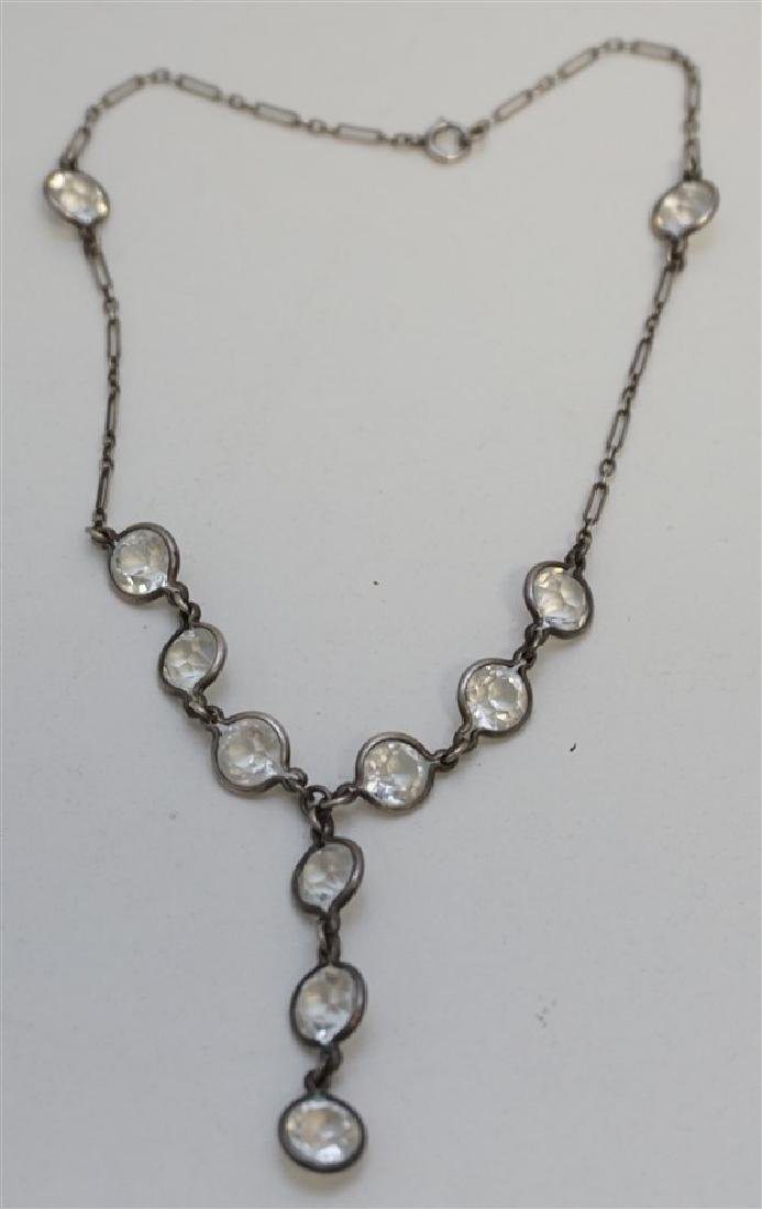 STERLING ART DECO ROCK CRYSTAL NECKLACE