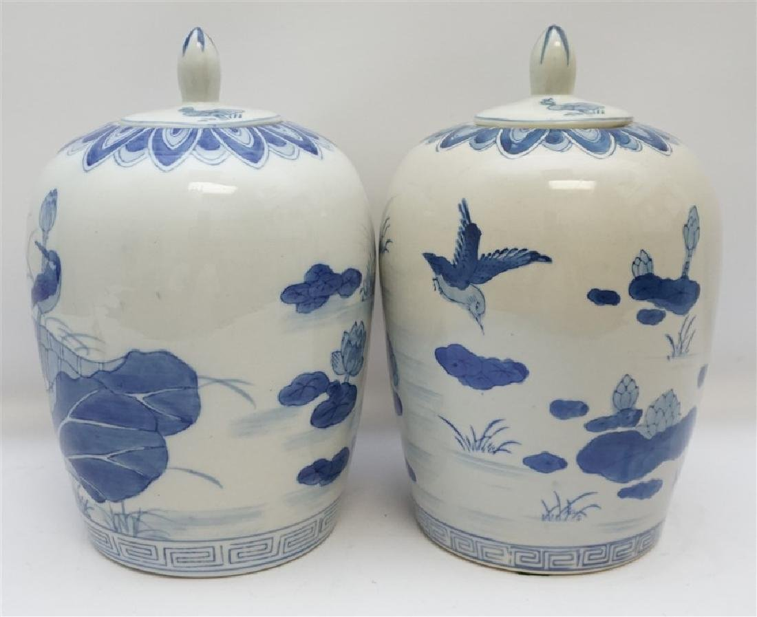 TWO BLUE & WHITE GINGER JARS - 3