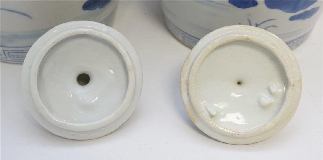 TWO BLUE & WHITE GINGER JARS - 5