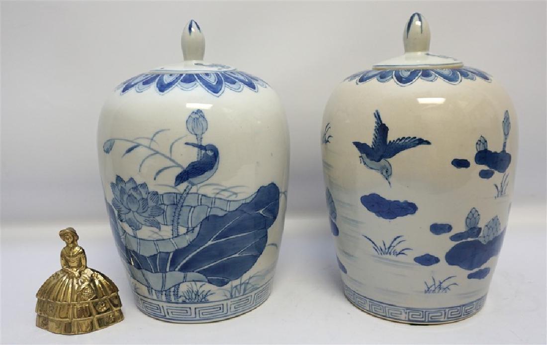 TWO BLUE & WHITE GINGER JARS - 7