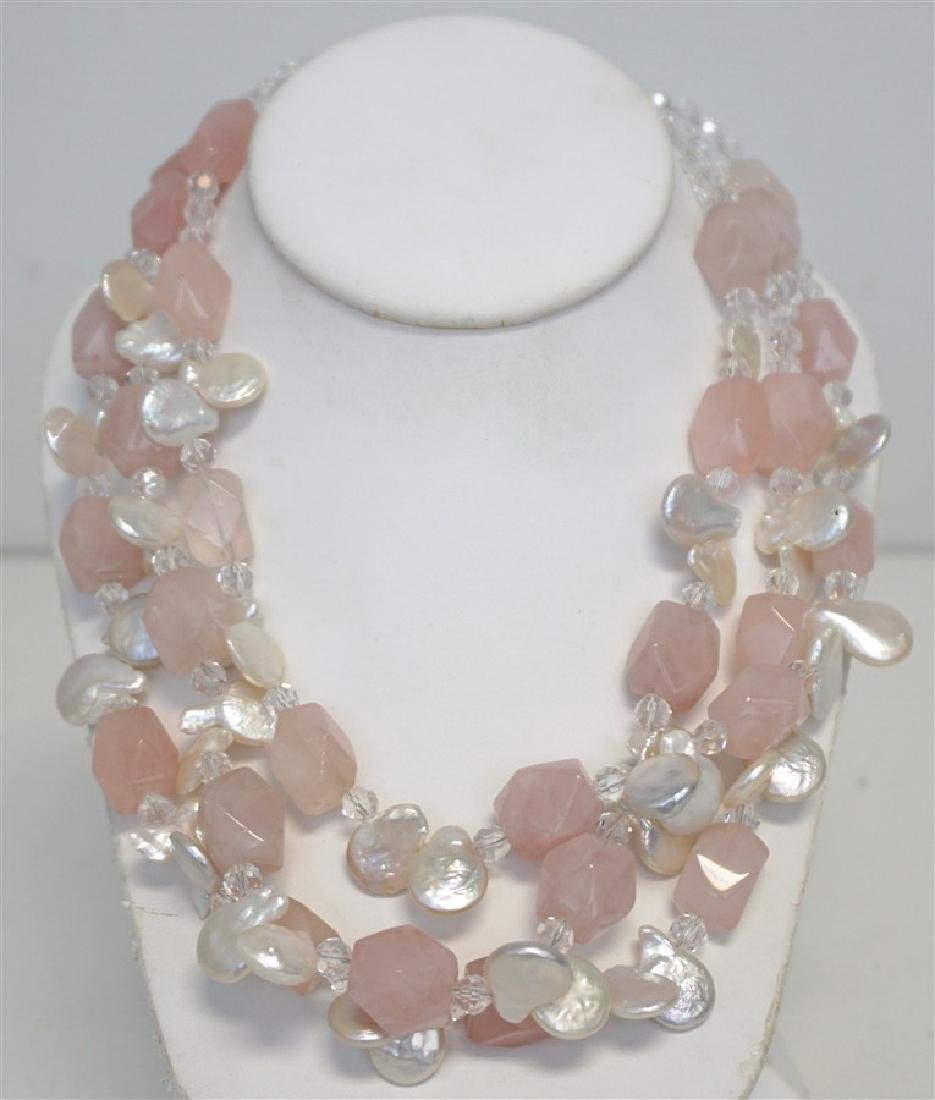 PINK QUARTZ & MOP STATEMENT NECKLACE