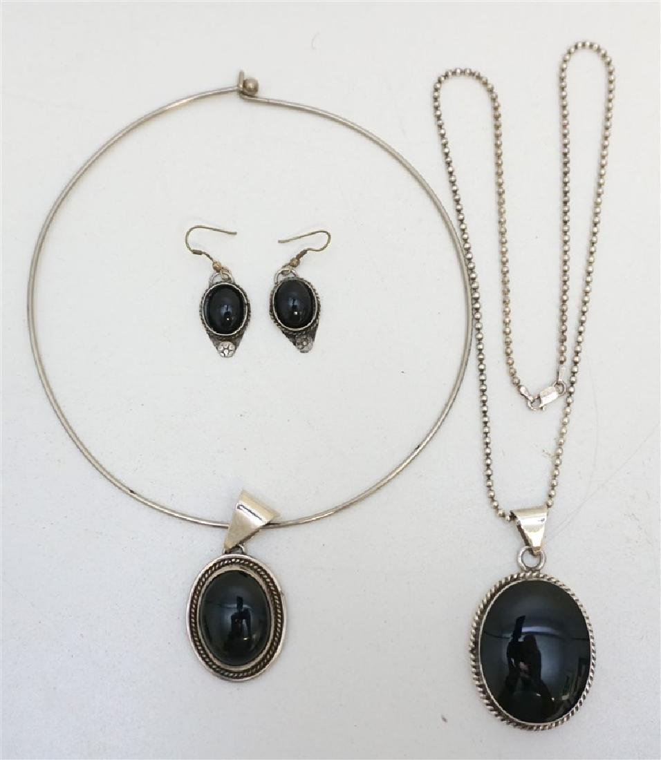 3 PC VINTAGE TAXCO STERLING ONYX JEWELRY
