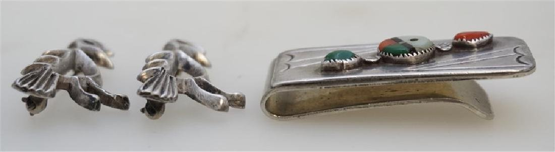 3 1940s HOPI INLAY MONEY CLIP - PINS - 4
