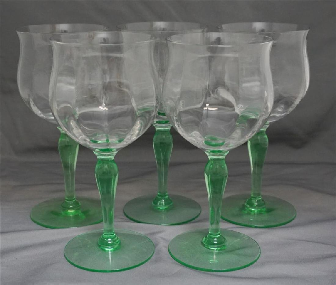 5 1930s VASELINE STEM WINE GLASSES