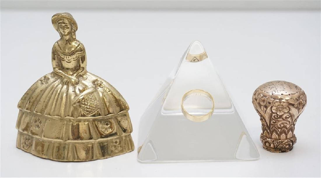 2 PC MASONIC 1889 GOLD CANE TOP & RING - 7