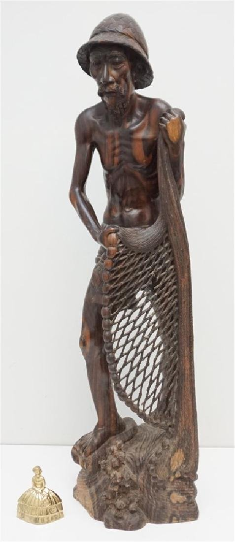 LARGE SONO WOOD CARVED FISHERMAN - 10