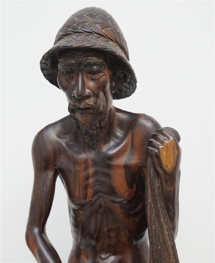 LARGE SONO WOOD CARVED FISHERMAN - 2