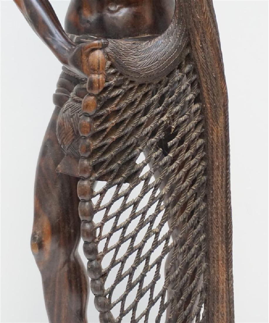 LARGE SONO WOOD CARVED FISHERMAN - 3