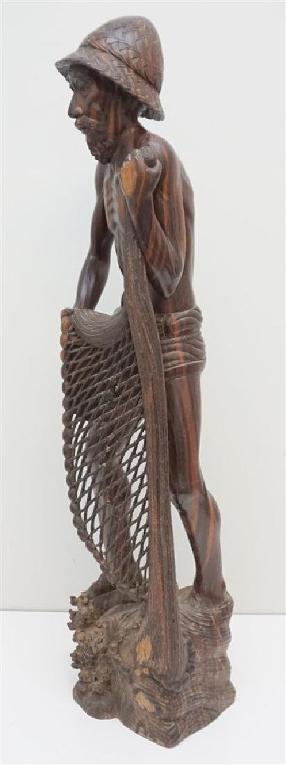 LARGE SONO WOOD CARVED FISHERMAN - 6