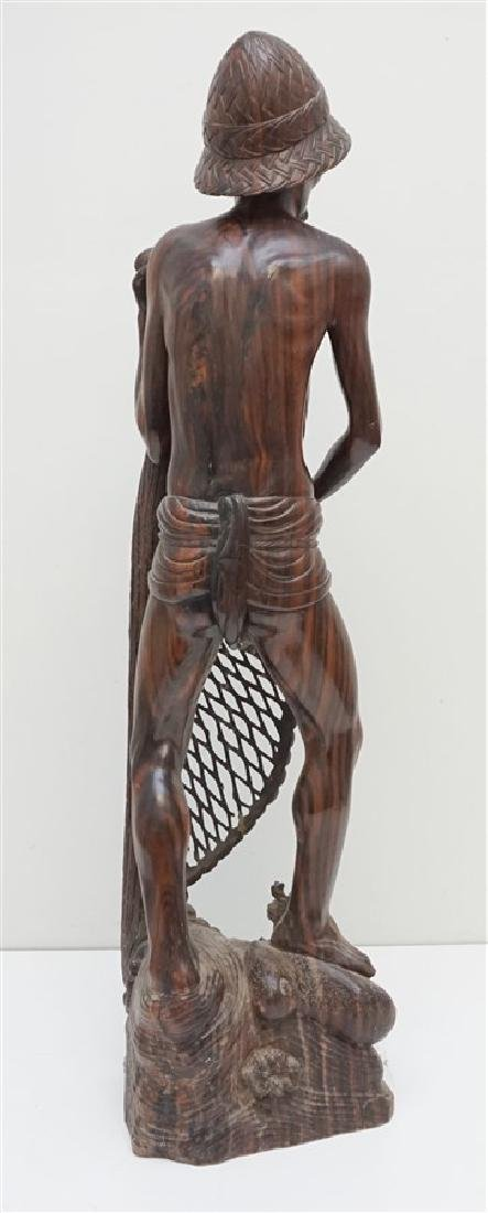 LARGE SONO WOOD CARVED FISHERMAN - 7