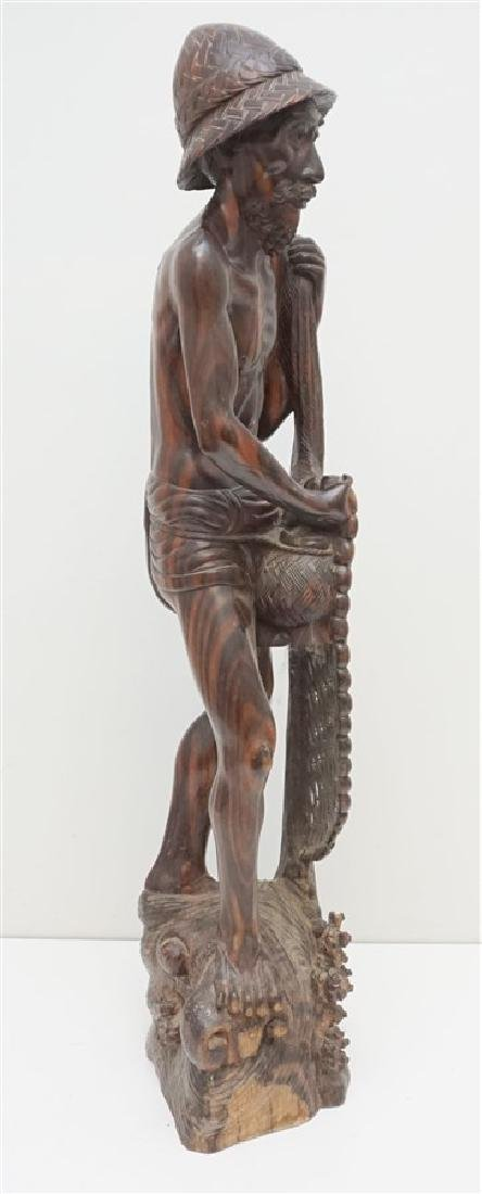 LARGE SONO WOOD CARVED FISHERMAN - 8
