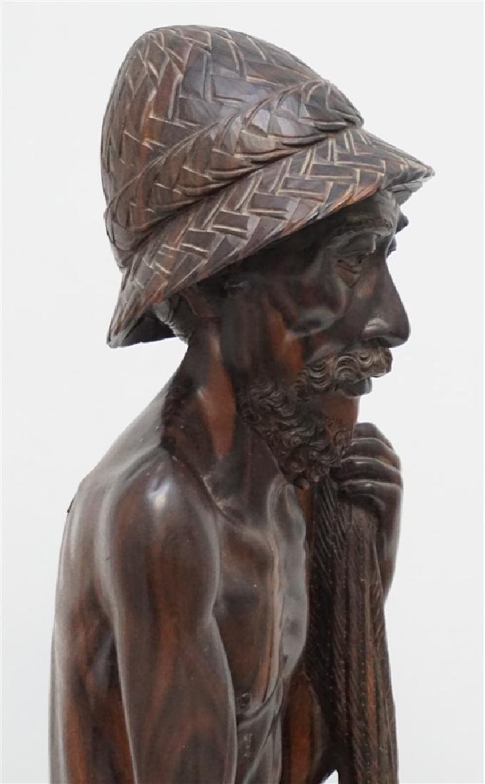 LARGE SONO WOOD CARVED FISHERMAN - 9