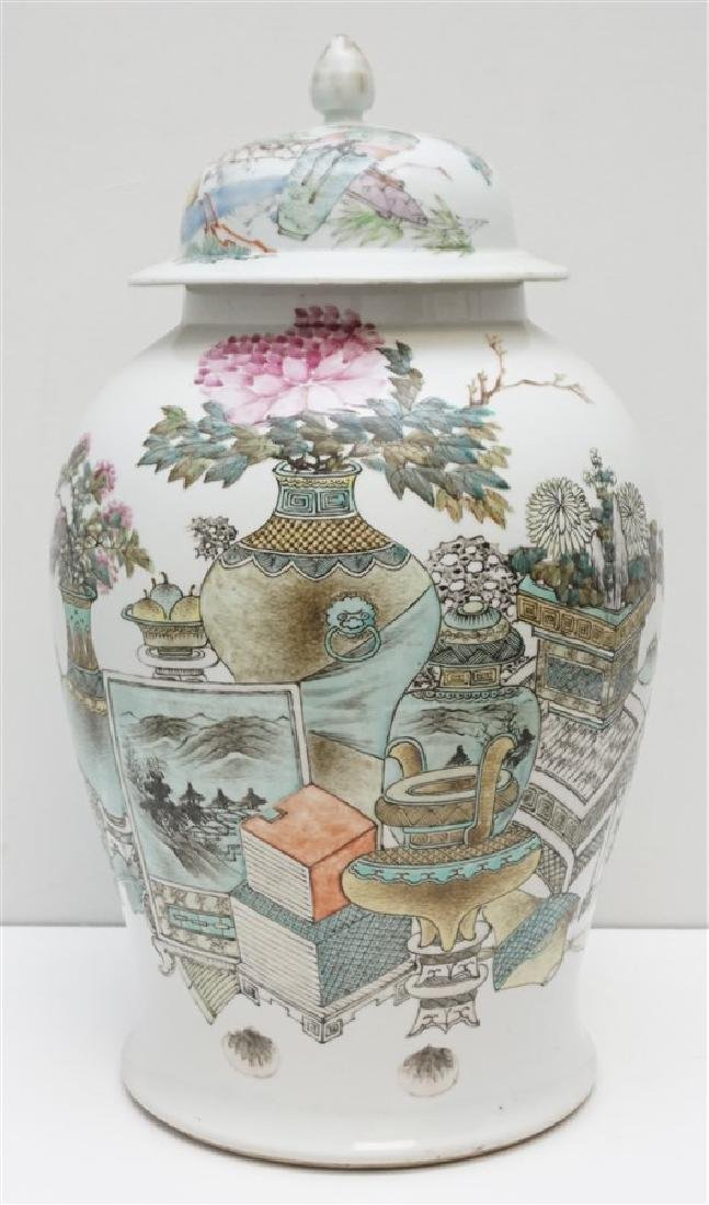 LARGE ANTIQUE CHINESE FAMILLE ROSE JAR