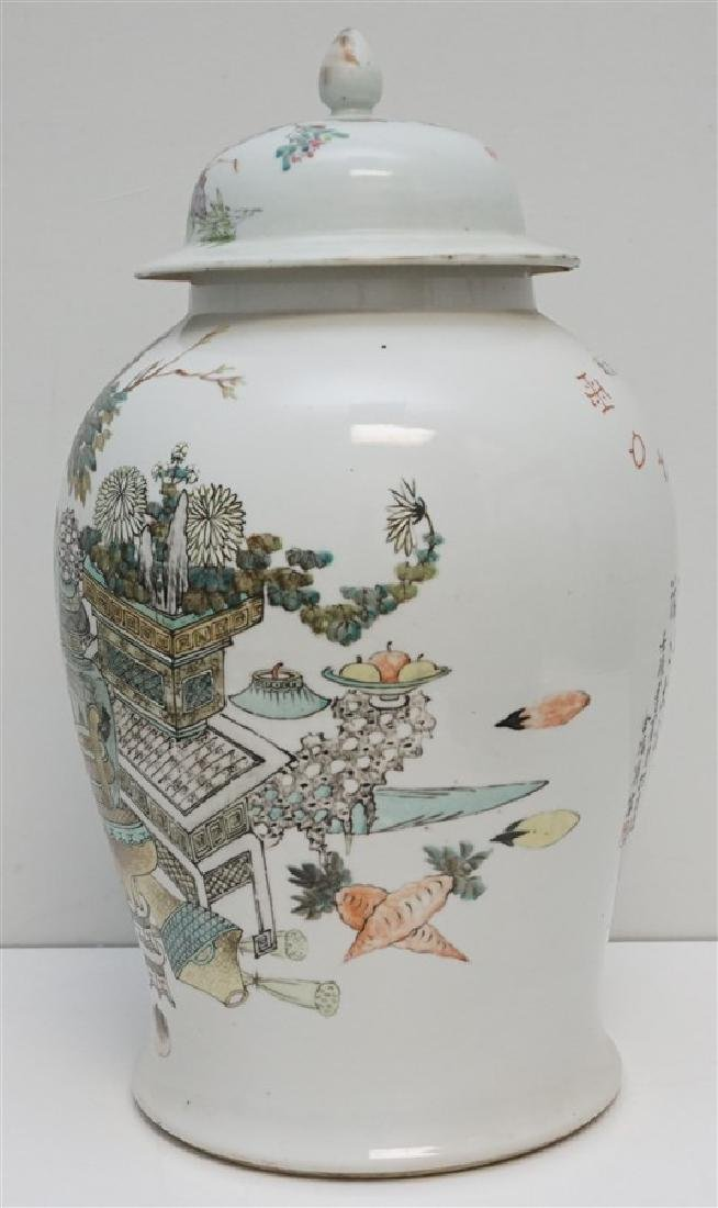 LARGE ANTIQUE CHINESE FAMILLE ROSE JAR - 5