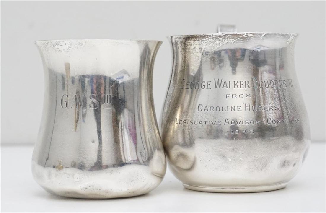TWO STERLING MUGS / CUPS CALDWELL
