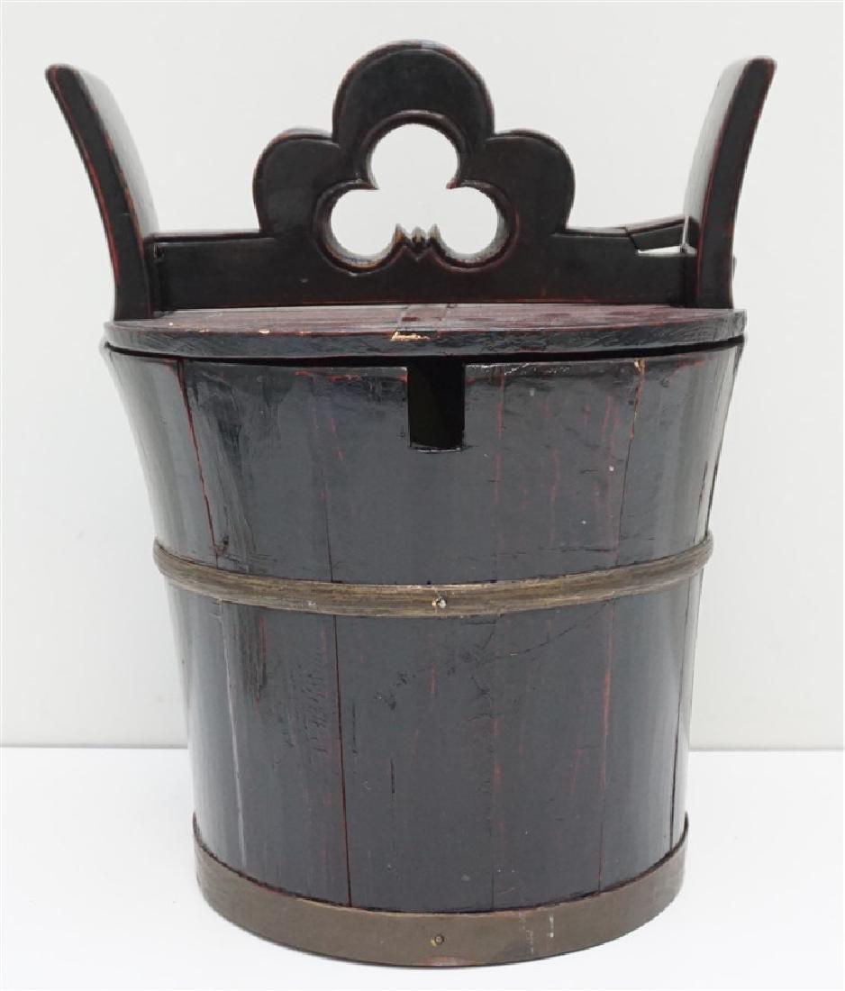 ANTIQUE CHINESE LOCKING TEA POT BUCKET