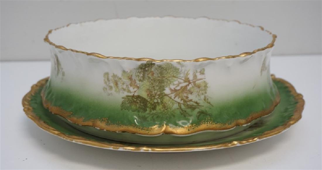 LARGE LIMOGES PUDDING BOWL W UNDERPLATE
