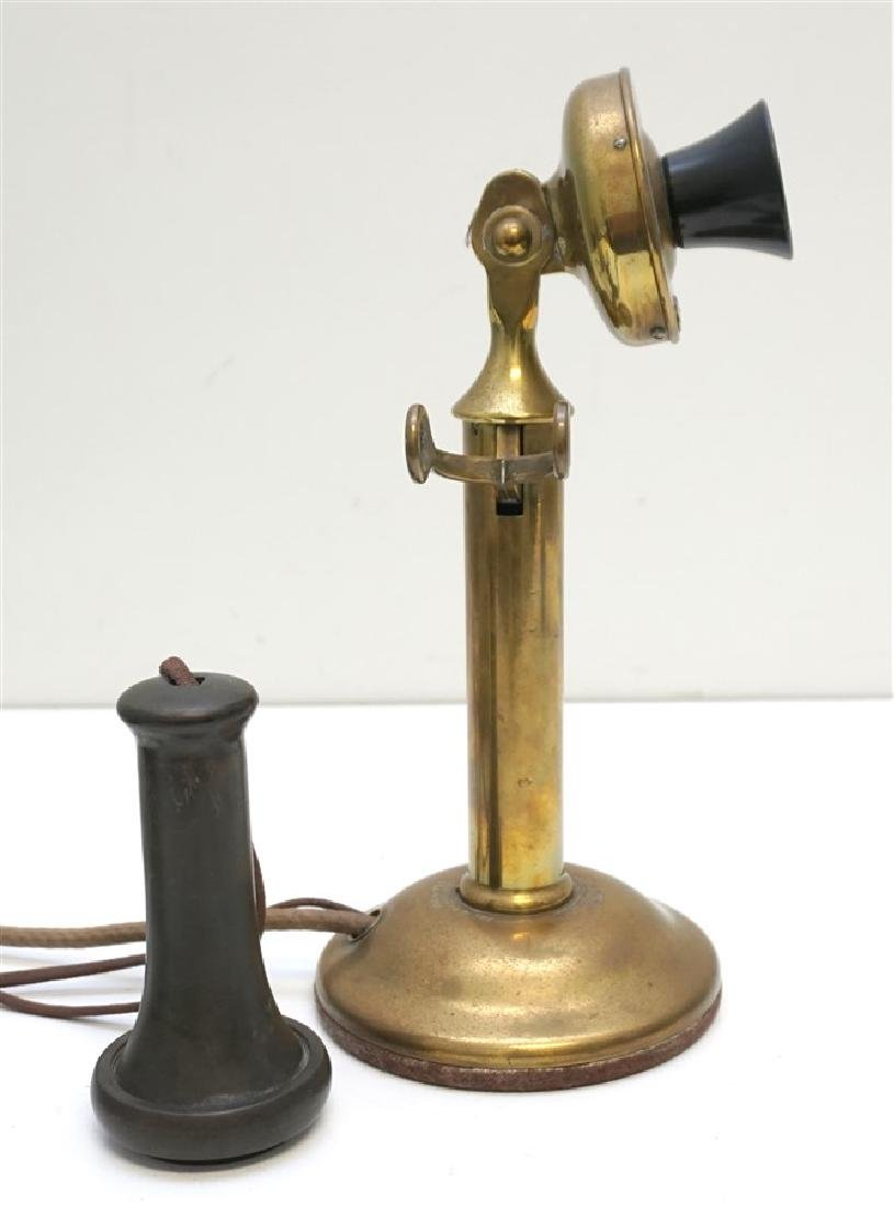 ANTIQUE WESTERN ELECTRIC BRASS PHONE - 4